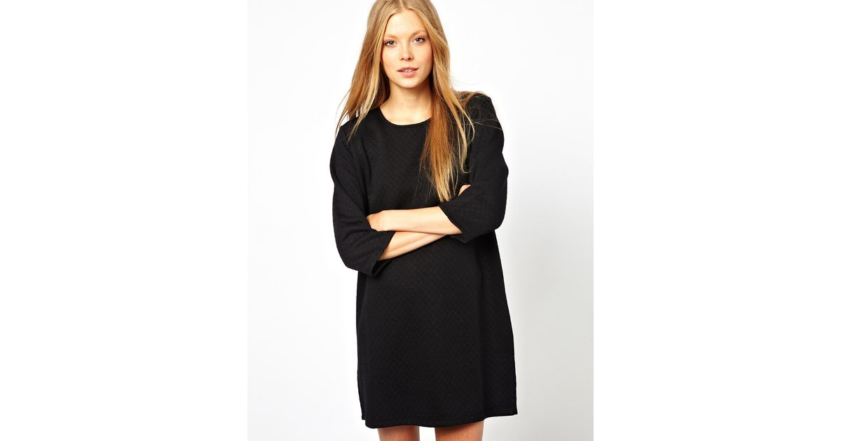 Lyst Monki Quilted Sweat Dress In Black