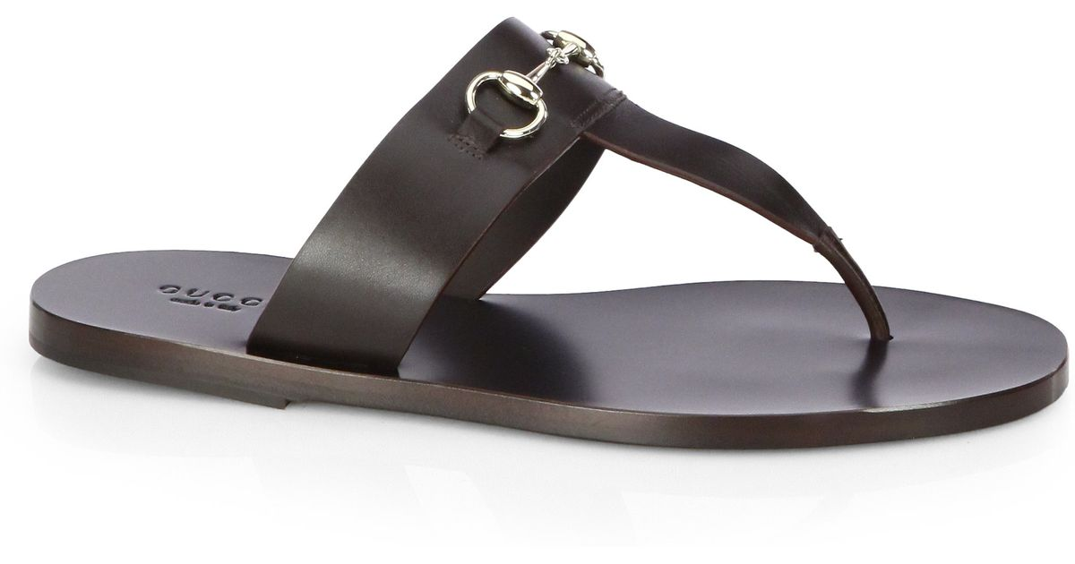 a7d08e137130b8 Lyst - Gucci Marcy Leather Horsebit Thong Sandals in Black