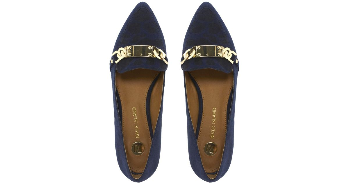 Asos Navy Id Tag Point Toe Flat Shoes In Blue Lyst
