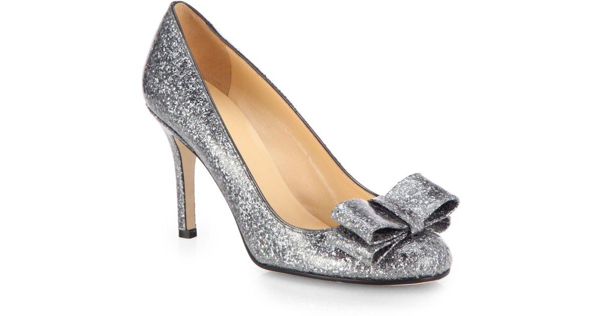 285c4f73a751 Lyst - Kate Spade Krysta Glitter Bow Pumps in Metallic
