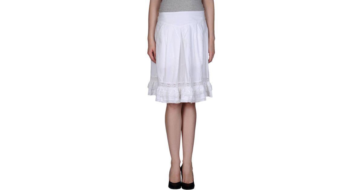 high knee length skirt in white save 85 lyst