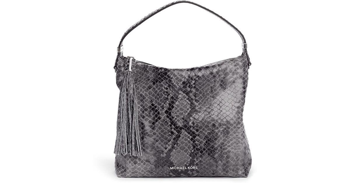 14d1e9501830 ... closeout lyst michael kors weston medium snakeskin print shoulder bag  in gray 9107d 284d1