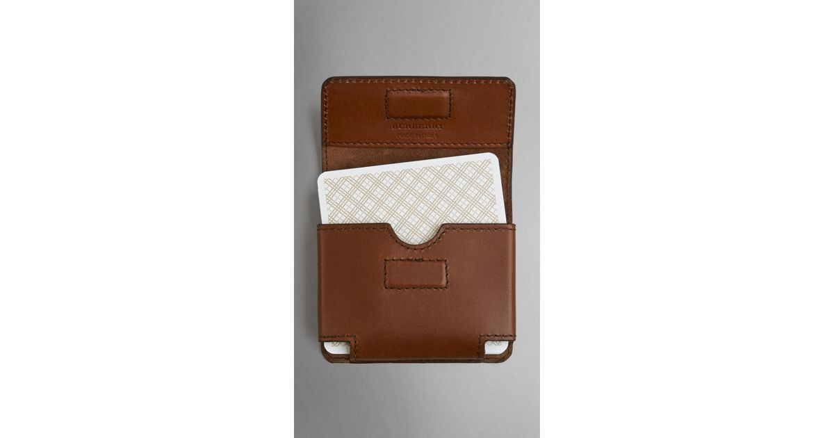 cfea510d94613 Lyst - Burberry Sartorial Leather Playing Card Case in Brown for Men