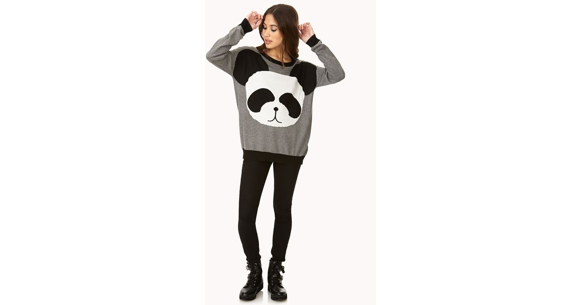 Forever 21 Panda Pal Sweater in Black | Lyst