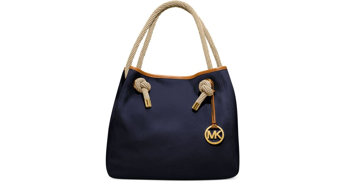 4725626b029d ... real lyst michael kors marina large grab bag in blue a7851 ad2aa
