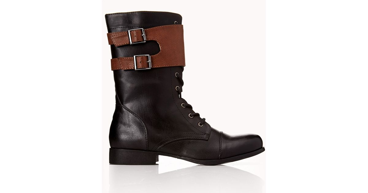 forever 21 standout combat boots in black lyst