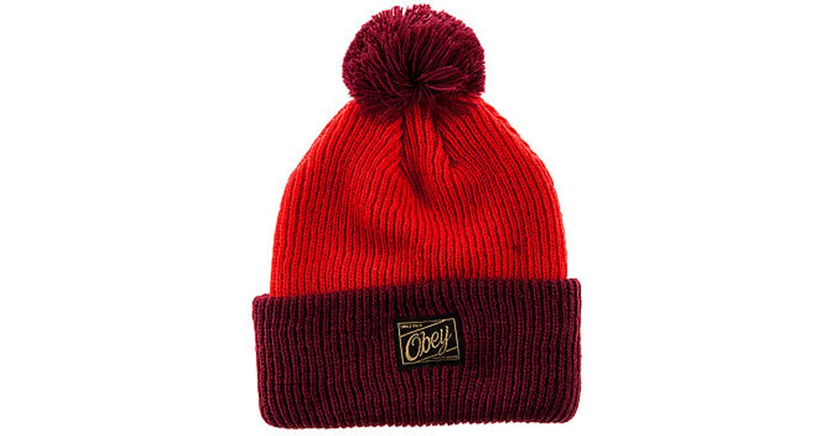 39dc7f7643f Lyst - Obey The Old Timey Pom Pom Beanie in Red for Men