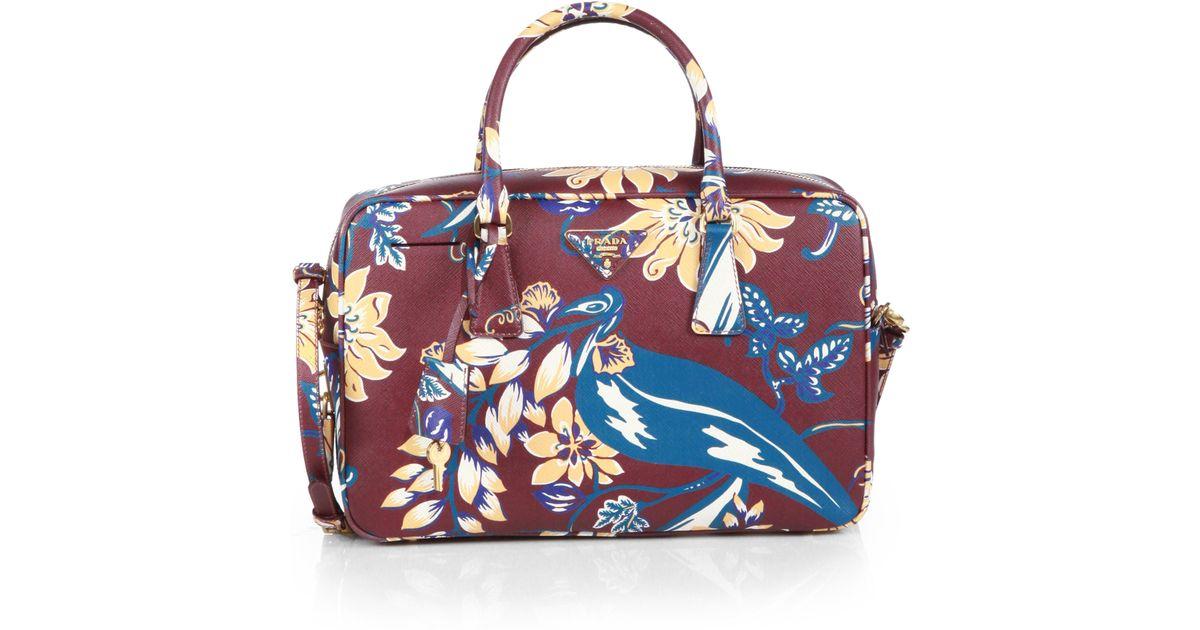 Prada Saffiano Print Tv Bag in Red (BURGUNDY MULTI) | Lyst