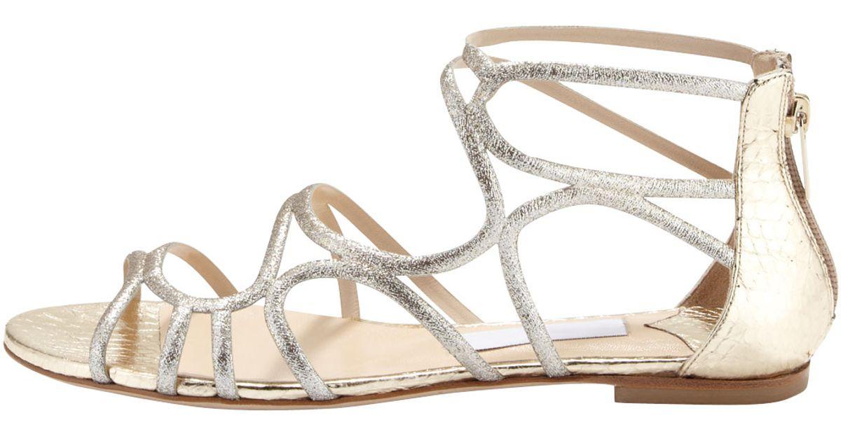 2d5647713e543 Lyst - Jimmy Choo Sutri Glittered Strappy Flat Sandal in Metallic