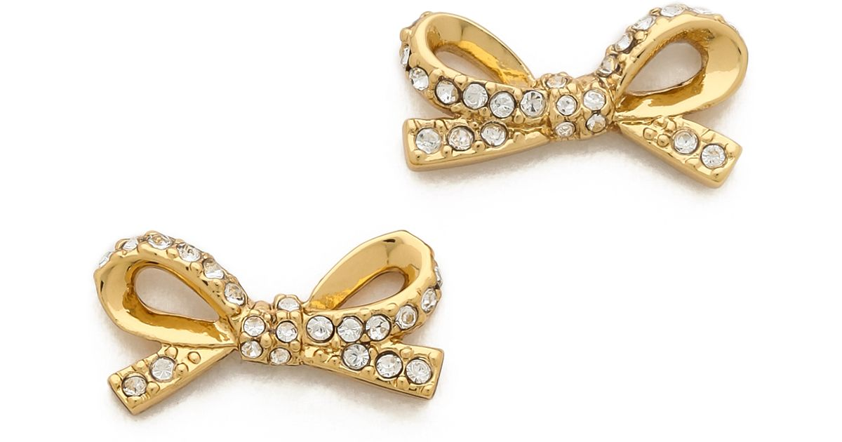 Lyst Kate Spade New York Skinny Mini Pave Bow Stud Earrings In Metallic