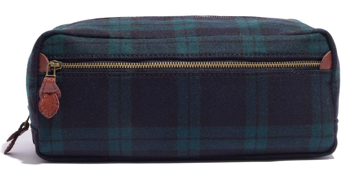 164353f930 Lyst - Madewell Dopp Kit in Dark Plaid in Black