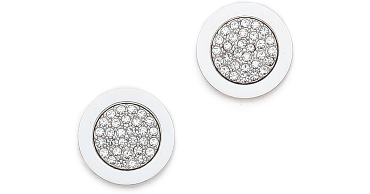 bf3fb238c2fb Michael Kors Pave Round Stud Earrings Silver - The Best Produck Of ...