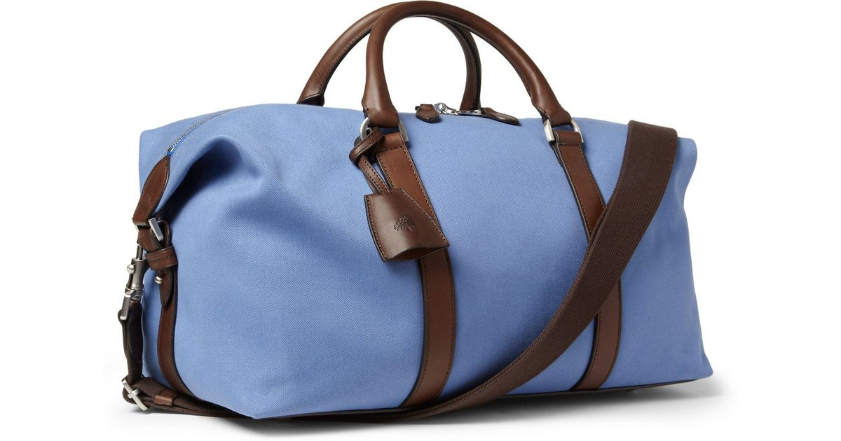 fb1f788418 Lyst - Mulberry Small Clipper Leathertrimmed Canvas Holdall Bag in Blue for  Men