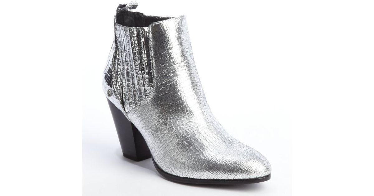 Zadig & voltaire Silver Crinkle Metallic Leather Jermaine Stacked ...