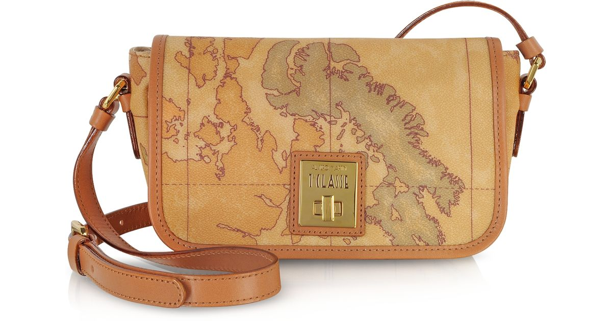Lyst - Alviero Martini 1A Classe Geo Classic Print Small  New Classic   Shoulder Bag With Swivel Clasp in Brown 653642b5ca79