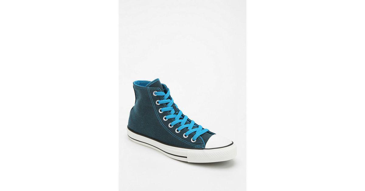 44179b41570b88 Lyst - Converse Chuck Taylor All Star Dark Wash Neon Women S High-Top  Sneaker in Blue