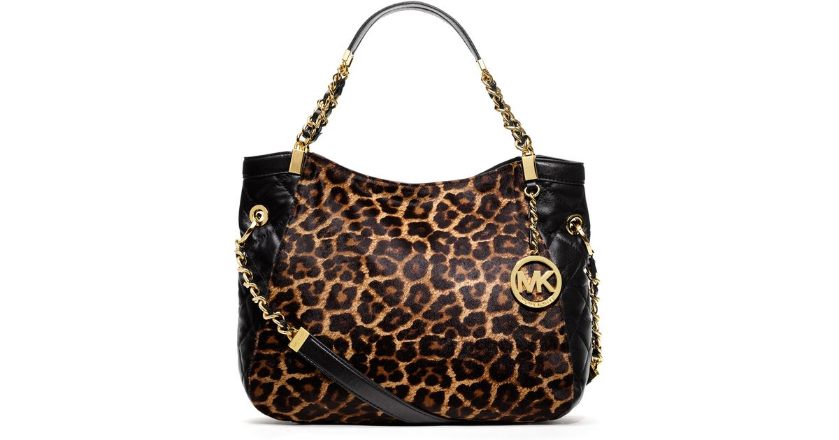 Lyst Michael Kors Medium Susannah Calfhair Tote Handbags Animal Print Seafoodeducators