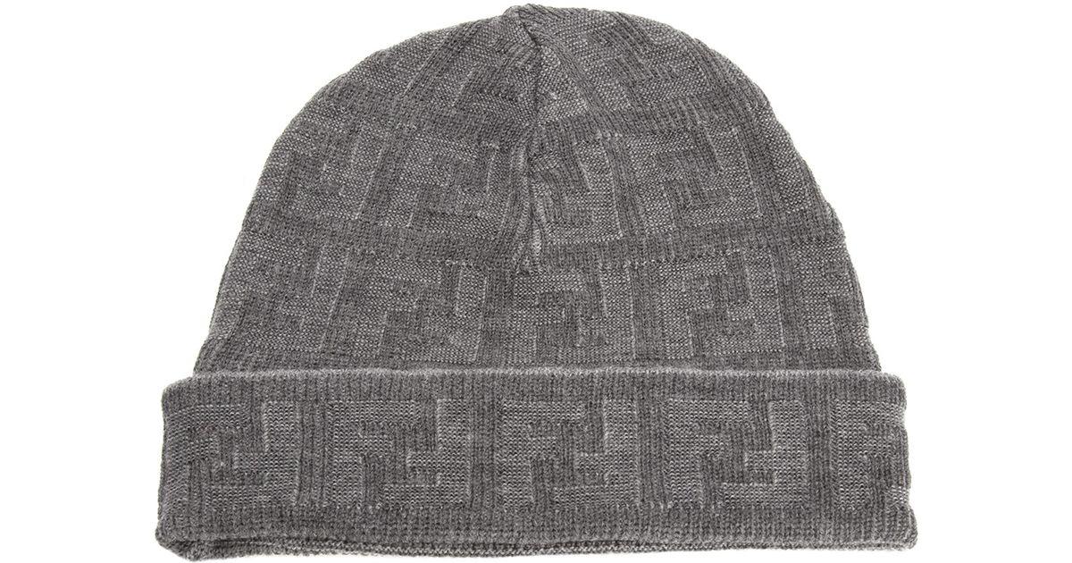 80518c02b36 Lyst - Fendi Jacquard Monogram Hat in Gray for Men