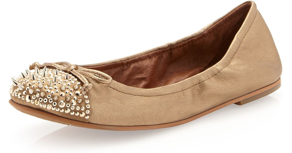 5148dc89a87b08 Lyst - Sam Edelman Beatrix Studded Flat Egyptian Gold in Natural