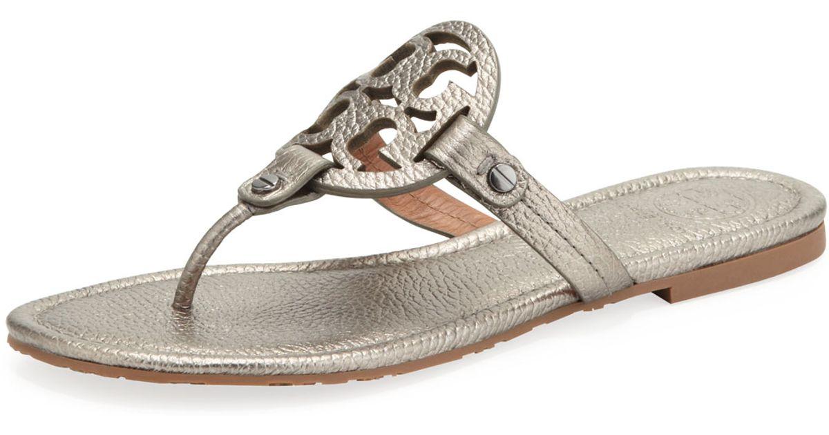 3d3b6f393b6 Lyst - Tory Burch Miller Metallic Logo Thong Sandal in Gray