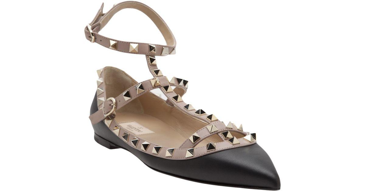 f41625d214c2 Lyst - Valentino Rockstud Ballerina Flat in Black