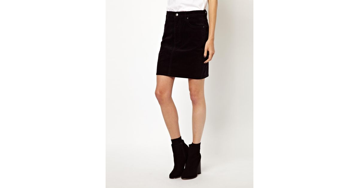 Asos Monki Mini Cord Skirt in Black | Lyst