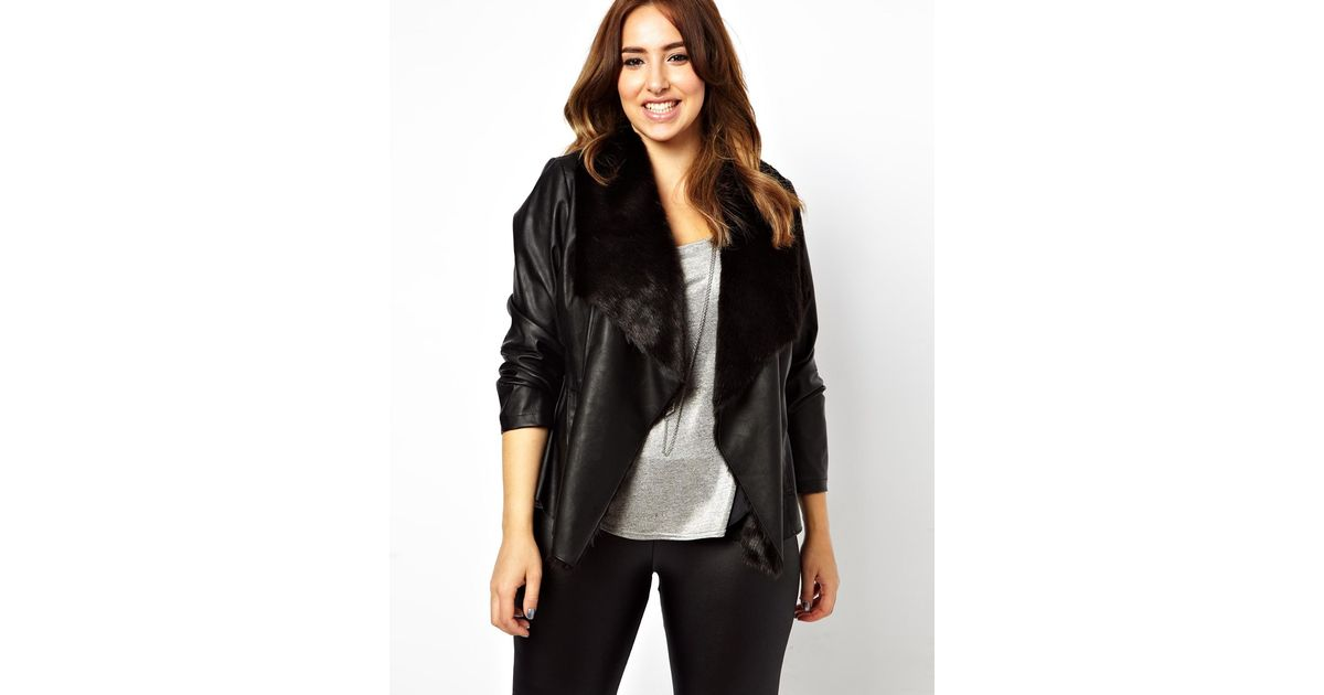 Asos New Look Inspire Leather Look Fur Lined Waterfall Jacket In