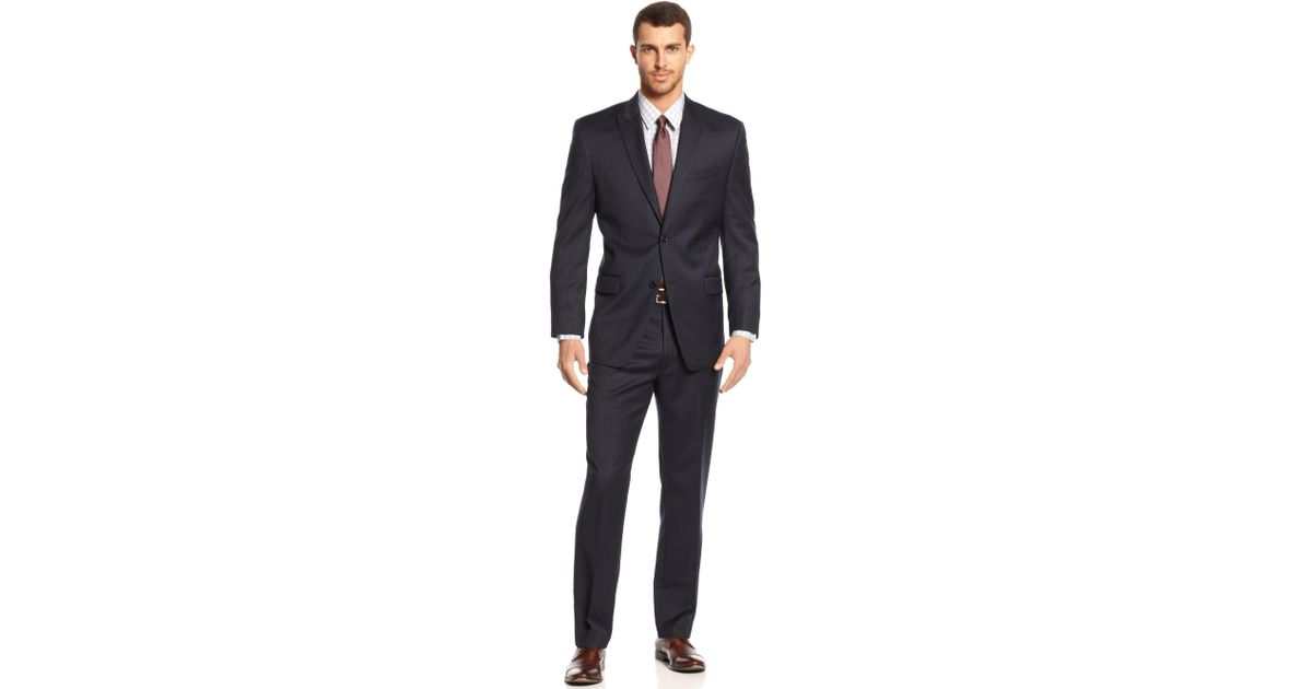 Lyst Michael Kors Michael Navy Pinstripe Suit In Blue For Men