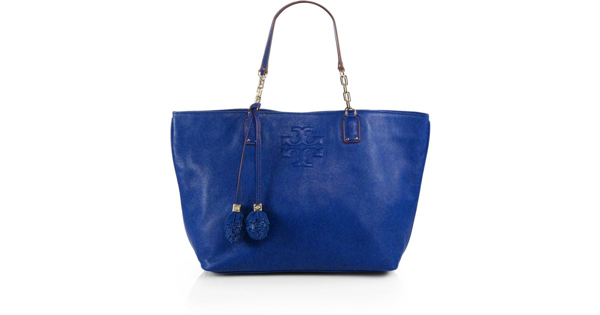 9e1ee5cf55 Tory Burch Thea Ball Tassel Tote in Blue - Lyst