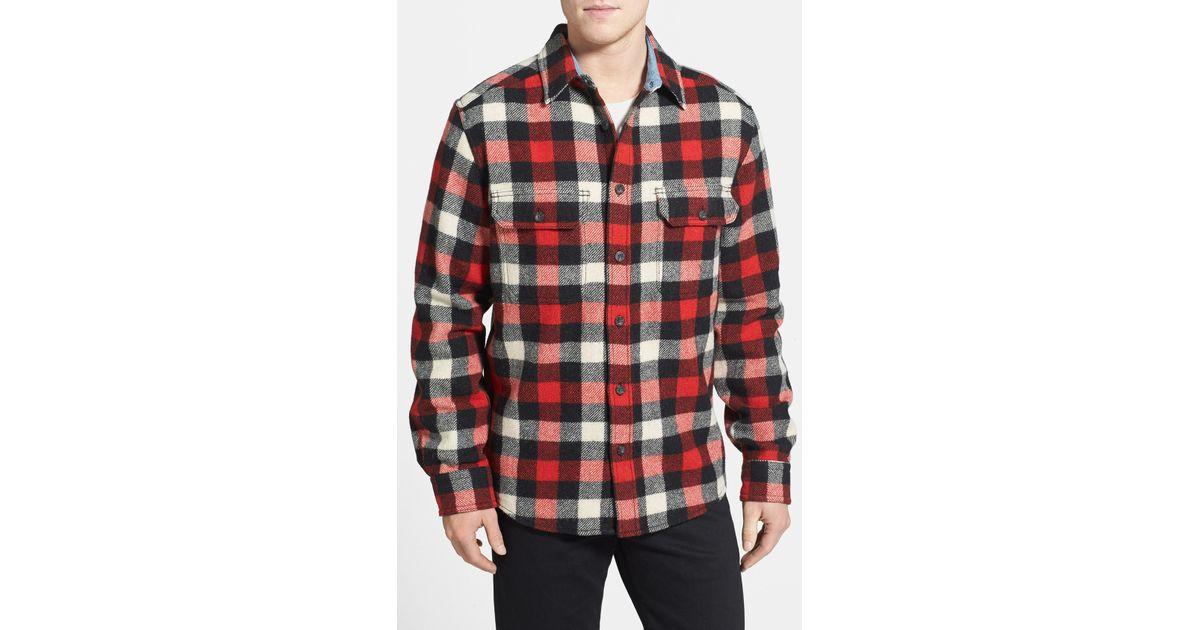 Woolrich long sleeve oxbow bend flannel woven shirt in for Brown and black plaid shirt