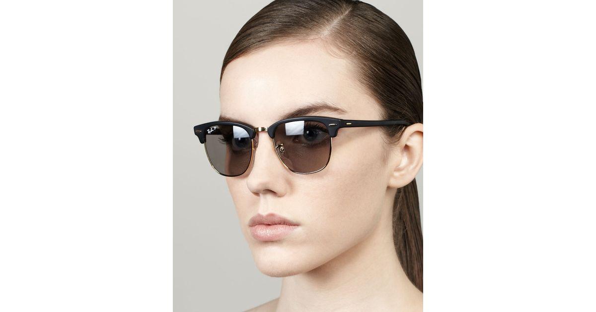 3baa425dd6 Lyst - Ray-Ban Polarized Matte Clubmaster Sunglasses Black in Black