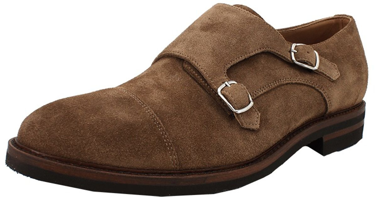 Lyst Brunello Cucinelli Mens Suede Monk Strap Shoe In Brown For Men