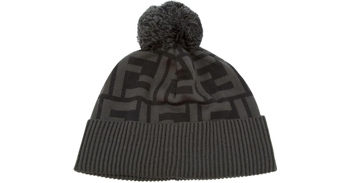 Lyst - Fendi Monogram Bobble Hat in Black 60be4259f09b