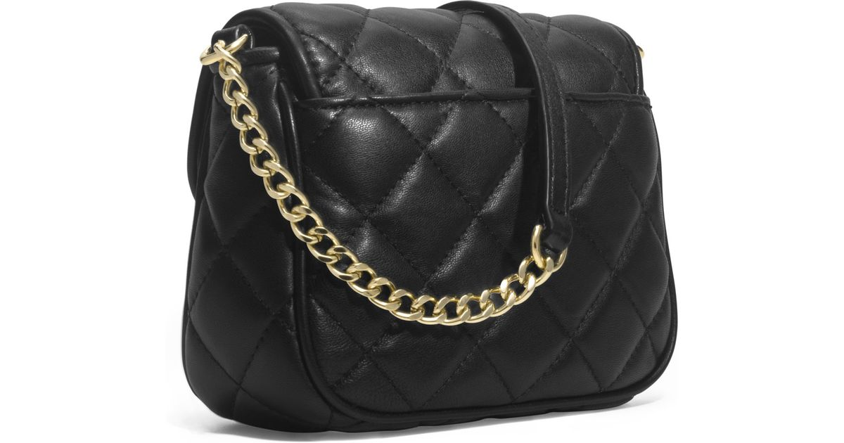 617e893f2aef MICHAEL Michael Kors Small Fulton Quilted Crossbody in Black - Lyst