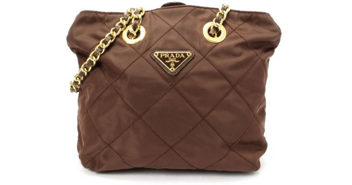 Lyst Prada Preowned Brown Quilted Nylon Double Chain