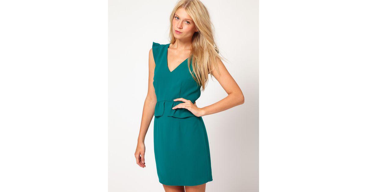 Sophia kokosalaki Oasis Peplum Dress With V Neck in Green | Lyst