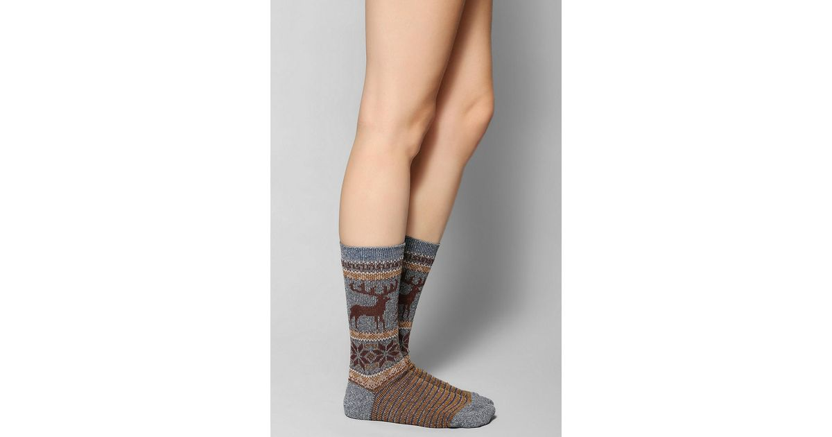 Lyst - Urban outfitters Anonymous Ism Moose Fair Isle Sock in Blue