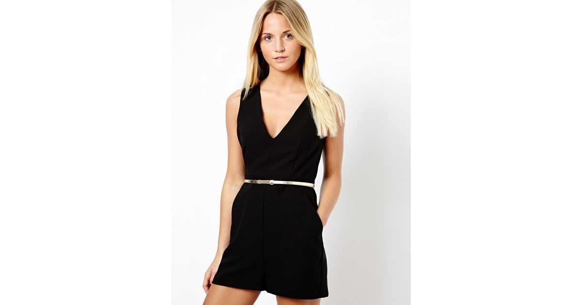 a5adc55b133b Lyst - ASOS New Look V Neck Playsuit in Black