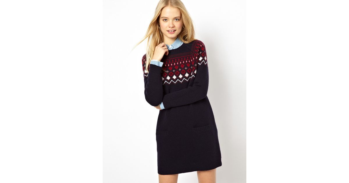 Jack wills Knitted Fairisle Dress in Blue | Lyst