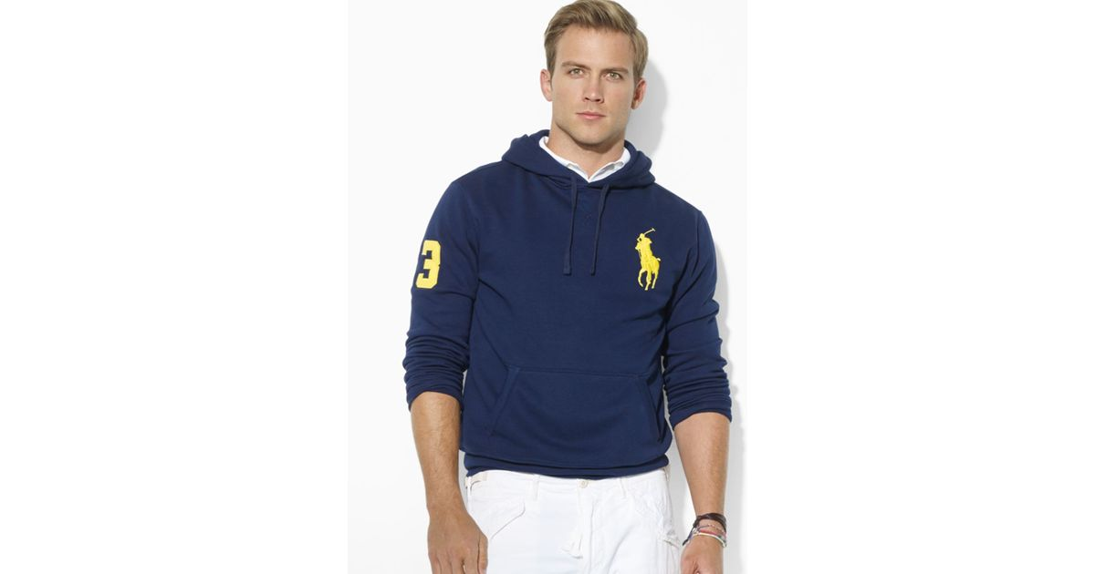 Ralph lauren Polo Big Pony Beach Fleece Pullover Hoodie in Blue for Men | Lyst