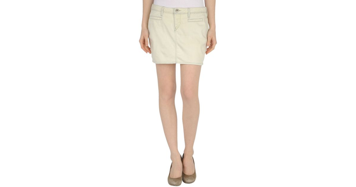 guess denim skirt in white ivory lyst