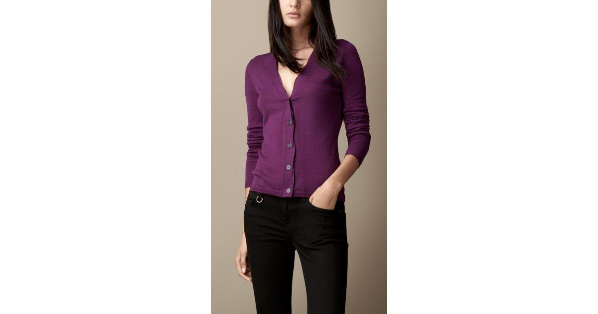 b1bc2a19fd527 Lyst - Burberry Check Placket Merino Wool Cardigan in Purple