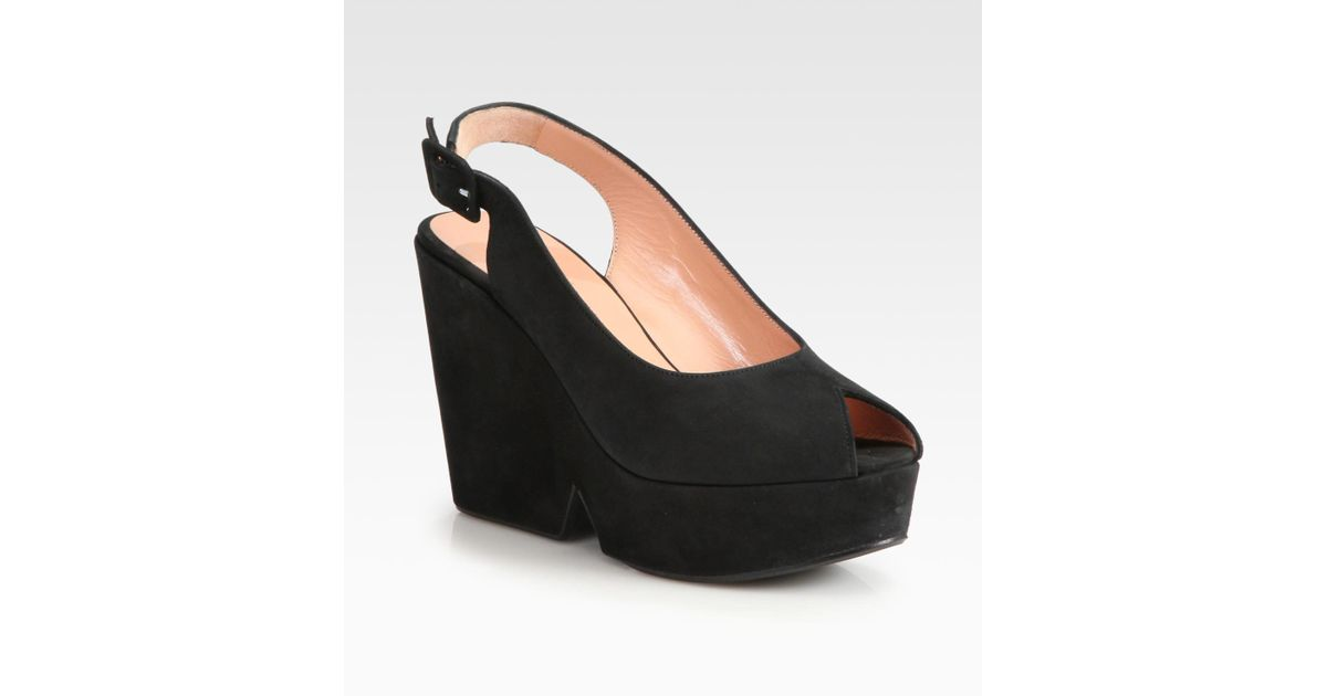 aca25d6a4a00e7 Robert Clergerie Dylane Suede Slingback Wedge Pumps in Black - Lyst