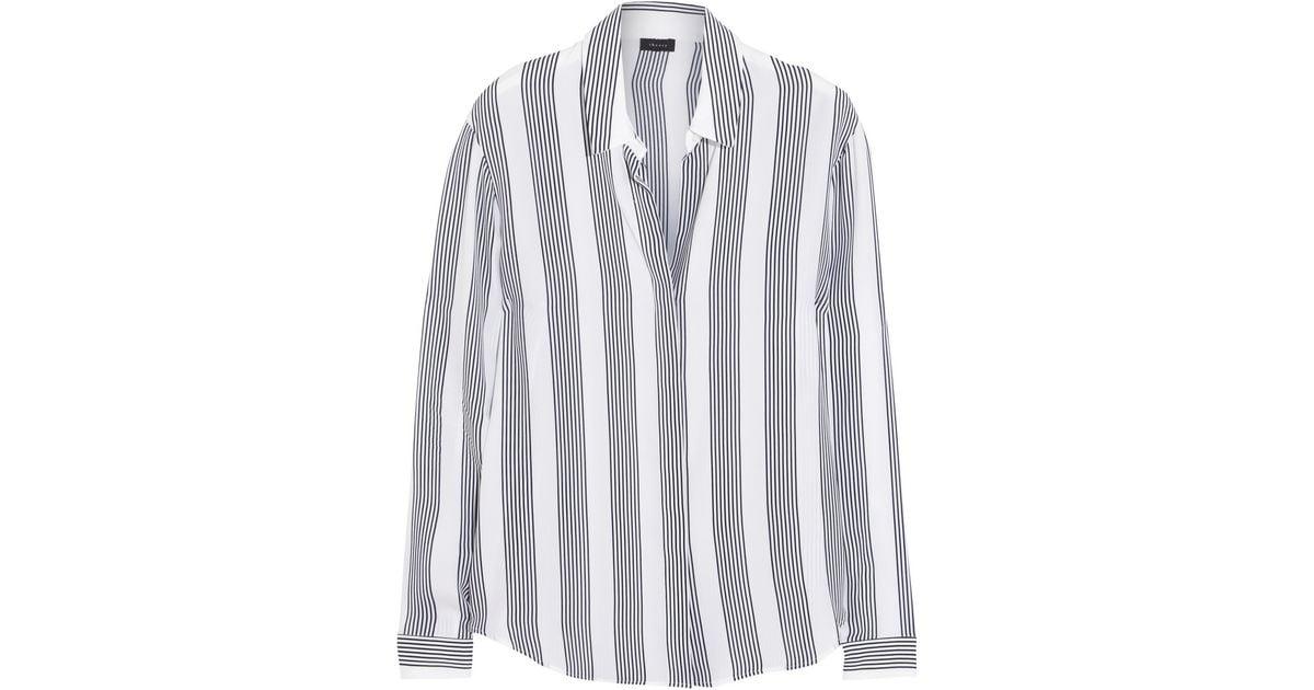 1174b1e12579a Lyst theory striped silk shirt in white jpeg 1200x630 Black and white  striped silk shirt