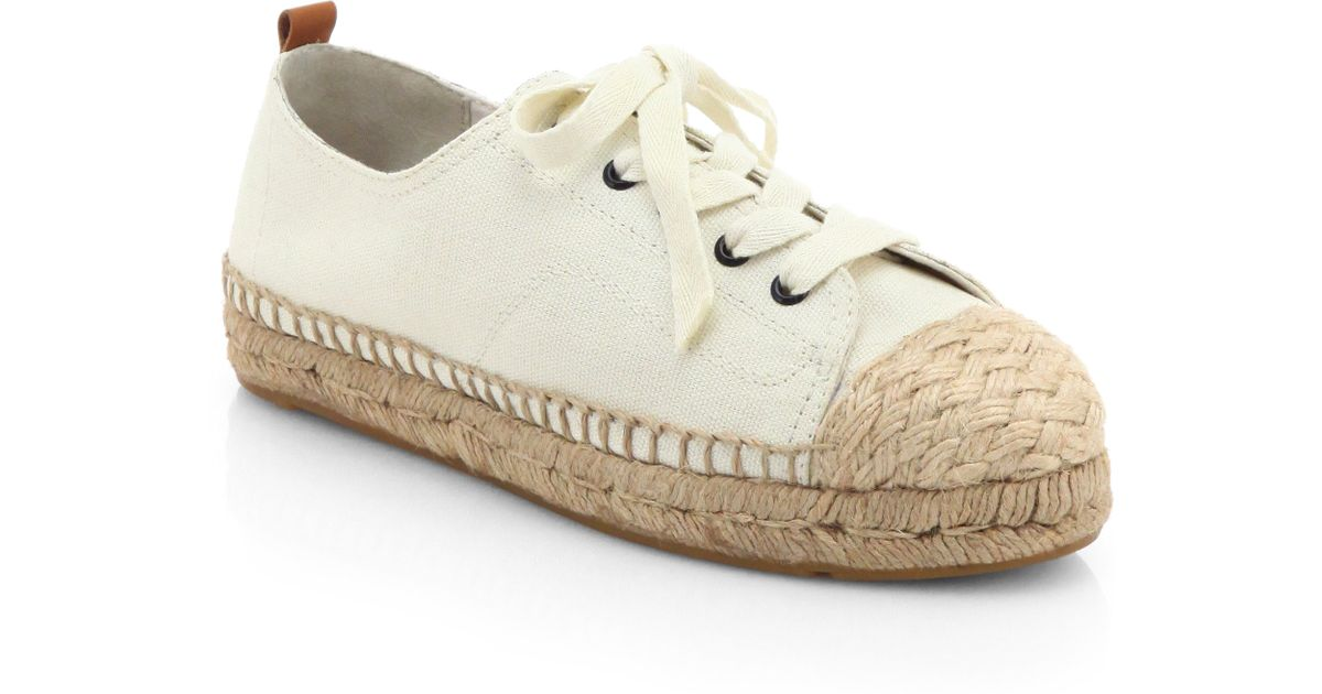 1d0acdb8f Lyst - Tory Burch Carter Canvas Laceup Espadrille Sneakers in Natural
