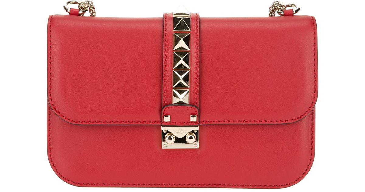 423e1ba812133 Lyst - Valentino Rockstud Shoulder Bag in Red