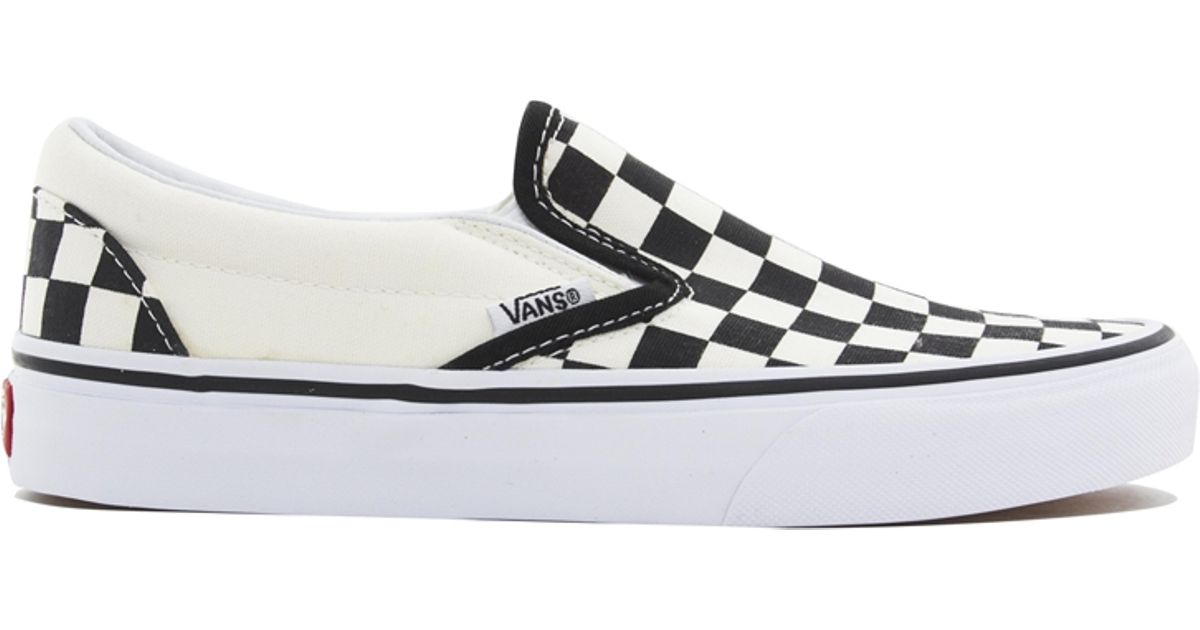 2b05319cca Lyst - Vans Classic Slip On Cream Black Checkerboard Trainers in White