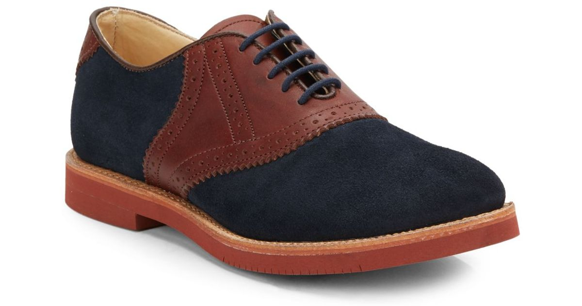 walk suede leather saddle oxford shoes in blue for