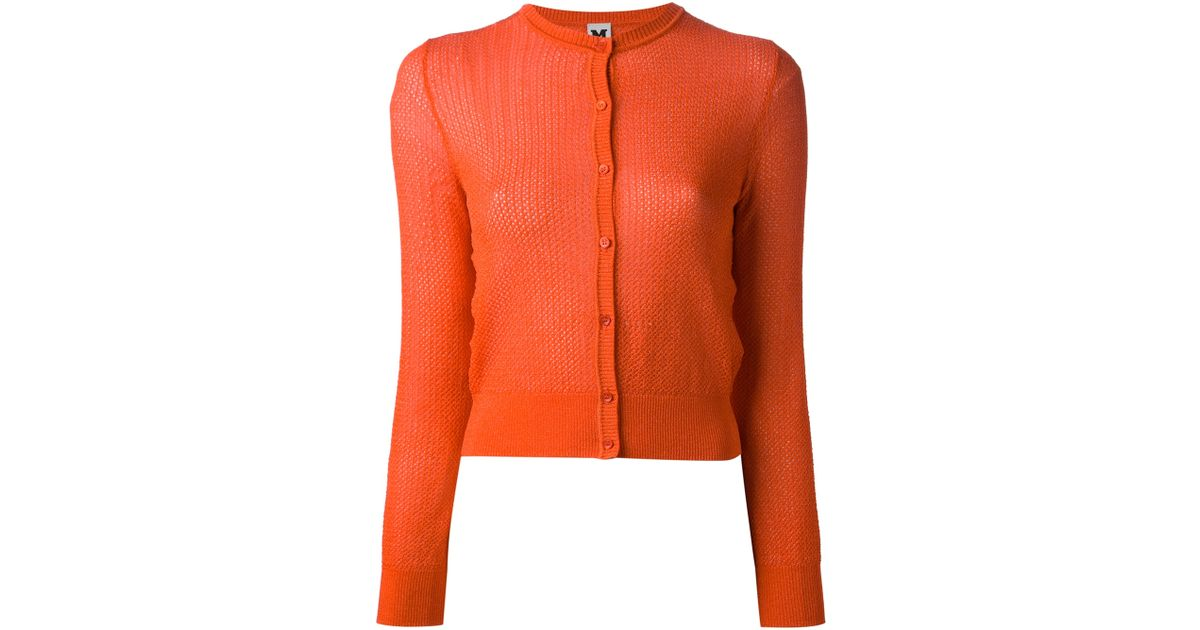 M missoni Cropped Cardigan in Orange | Lyst