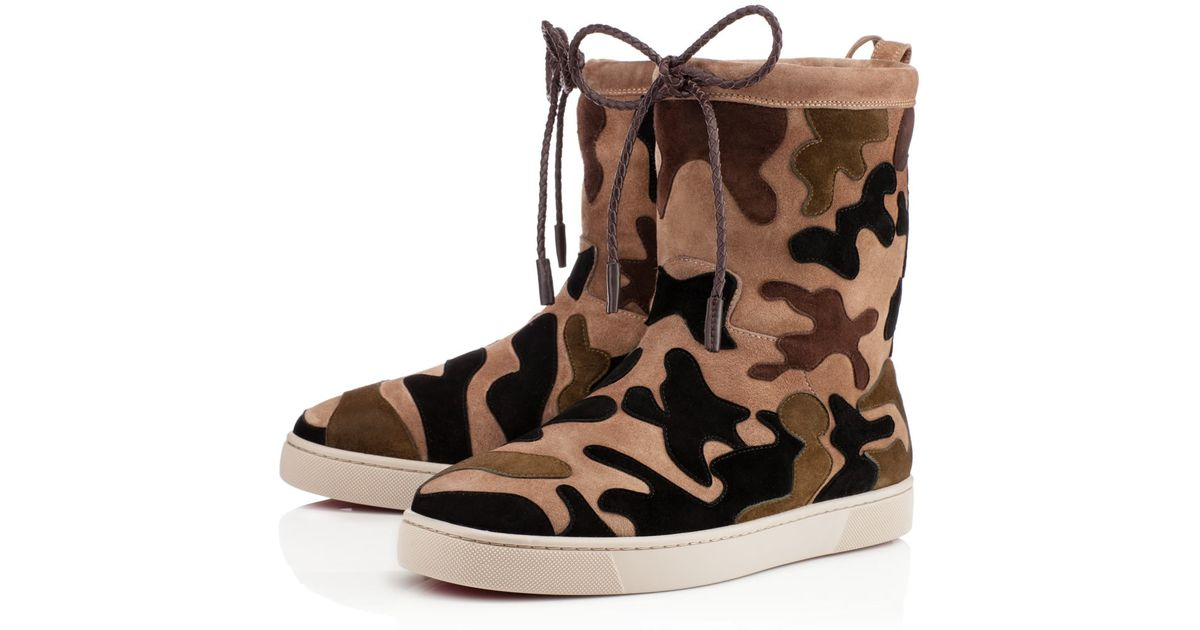 bec97c3f966b purchase christian louboutin jennifer perforated red sole boot f89b8 aa73a   norway lyst christian louboutin halluolapon camouflage suede and shearling  boots ...
